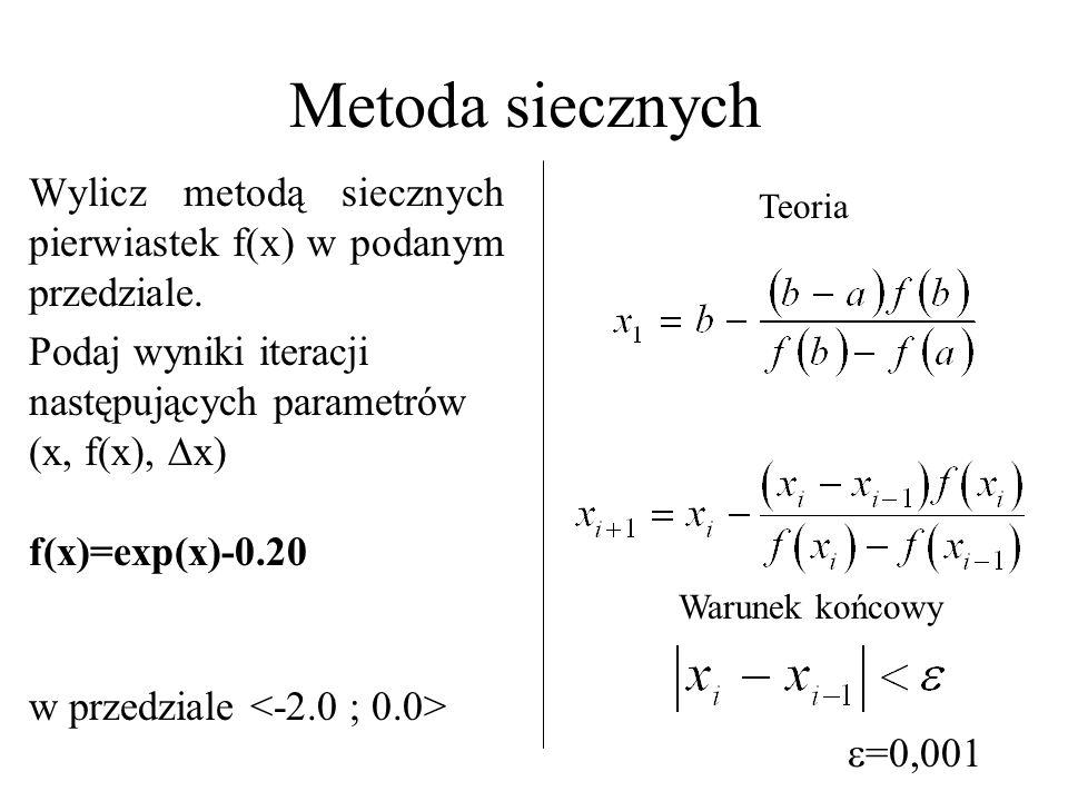 Metoda siecznych Wylicz metodą siecznych pierwiastek f(x) w podanym przedziale. Podaj wyniki iteracji następujących parametrów (x, f(x), x)