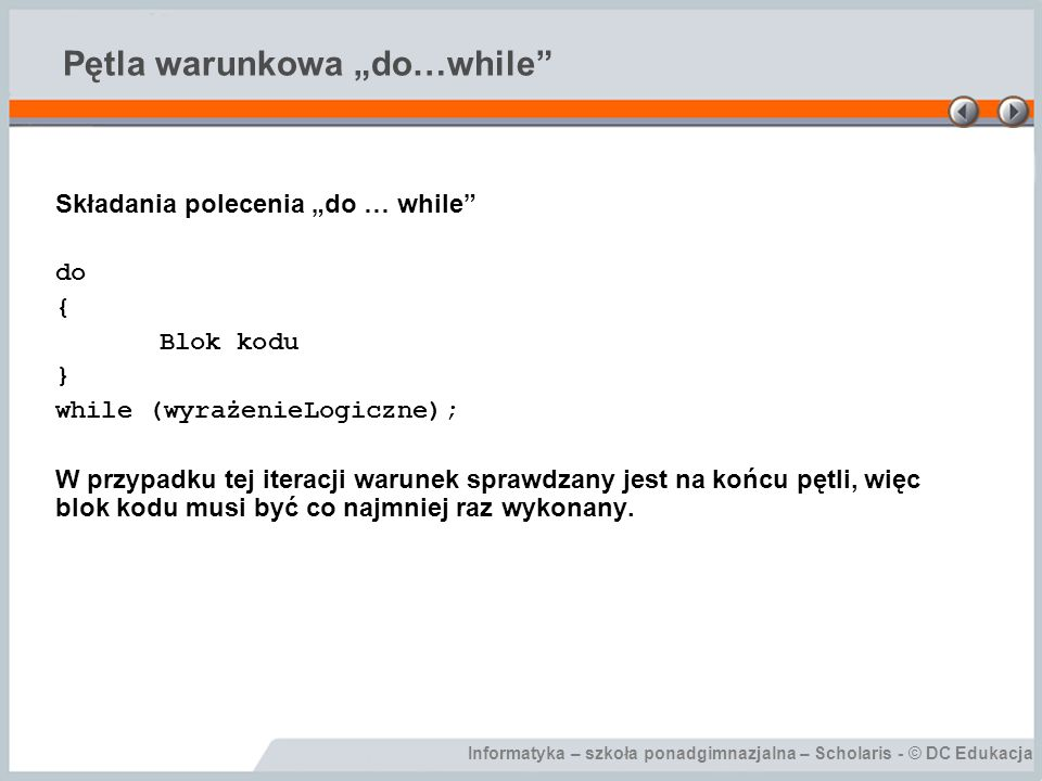 "Pętla warunkowa ""do…while"