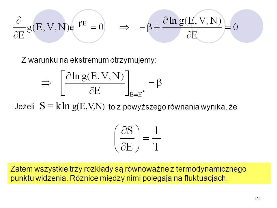 = ln k S g(E,V,N) Z warunku na ekstremum otrzymujemy: Jeżeli