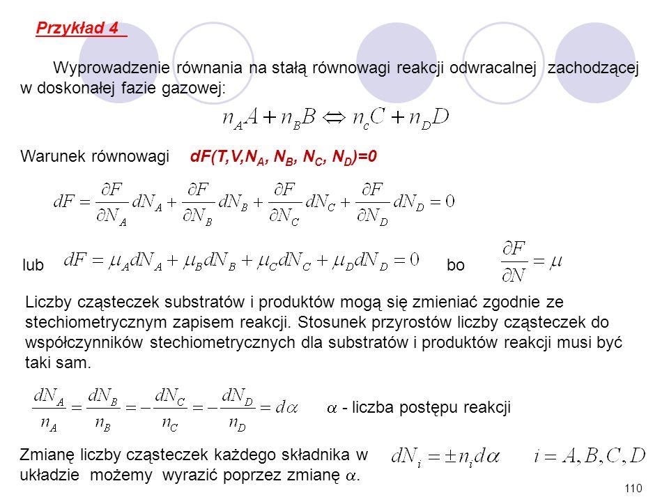 Przykład 4 Wyprowadzenie równania na stałą równowagi reakcji odwracalnej zachodzącej w doskonałej fazie gazowej: