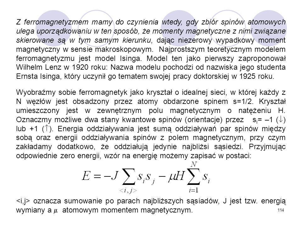Z ferromagnetyzmem mamy do czynienia wtedy, gdy zbiór spinów atomowych ulega uporządkowaniu w ten sposób, że momenty magnetyczne z nimi związane skierowane są w tym samym kierunku, dając niezerowy wypadkowy moment magnetyczny w sensie makroskopowym. Najprostszym teoretycznym modelem ferromagnetyzmu jest model Isinga. Model ten jako pierwszy zaproponował Wilhelm Lenz w 1920 roku: Nazwa modelu pochodzi od nazwiska jego studenta Ernsta Isinga, który uczynił go tematem swojej pracy doktorskiej w 1925 roku.