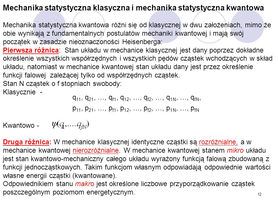 Mechanika statystyczna klasyczna i mechanika statystyczna kwantowa