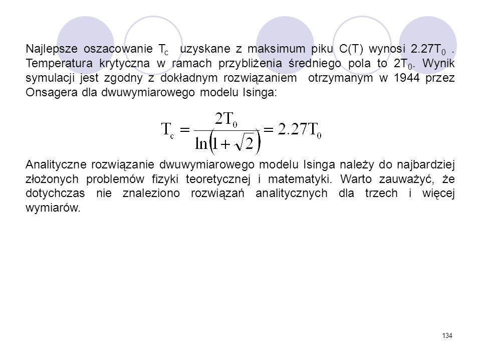 Najlepsze oszacowanie Tc uzyskane z maksimum piku C(T) wynosi 2. 27T0