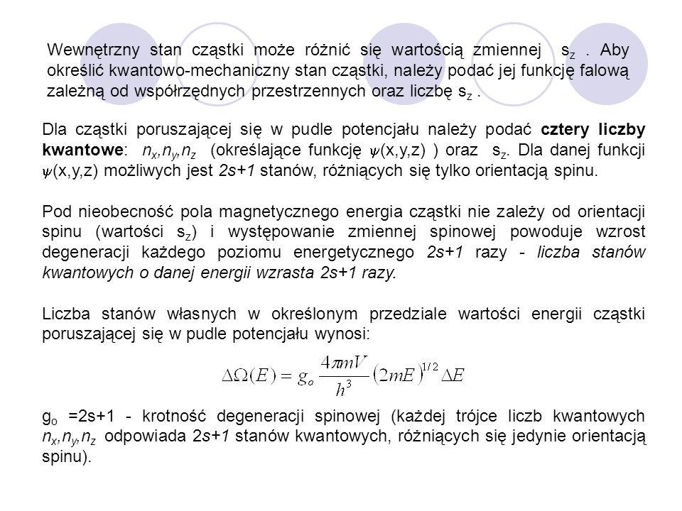 Wewnętrzny stan cząstki może różnić się wartością zmiennej sz