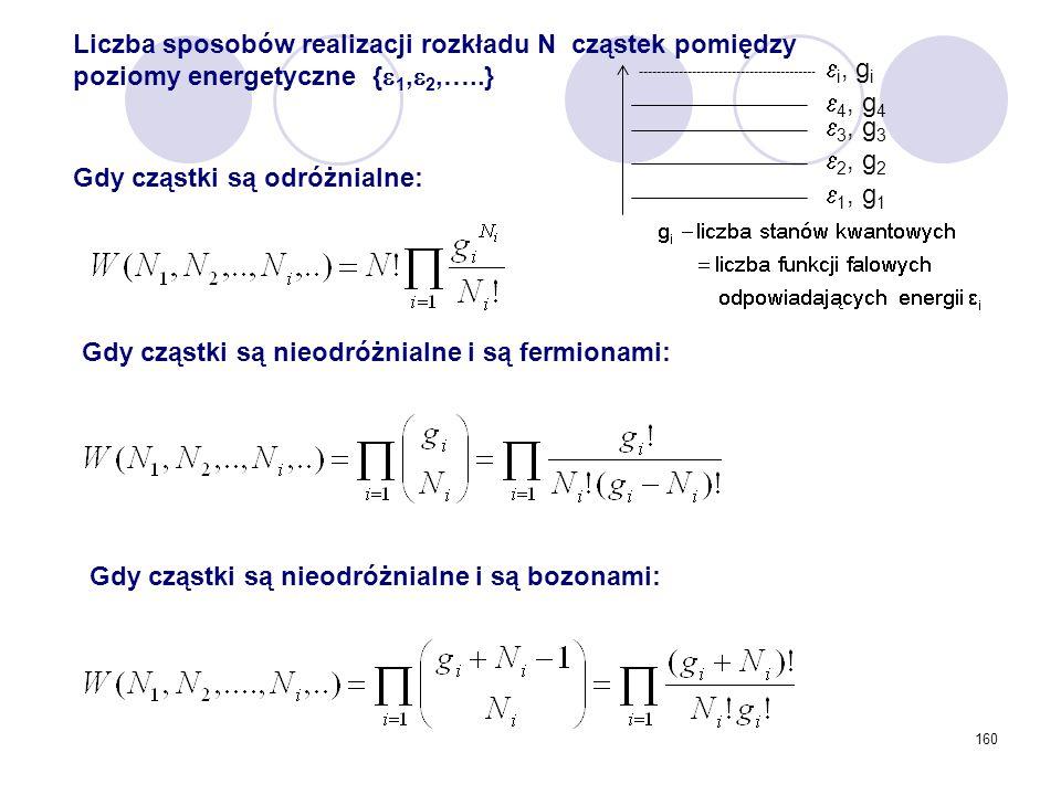 Liczba sposobów realizacji rozkładu N cząstek pomiędzy poziomy energetyczne {1,2,…..}