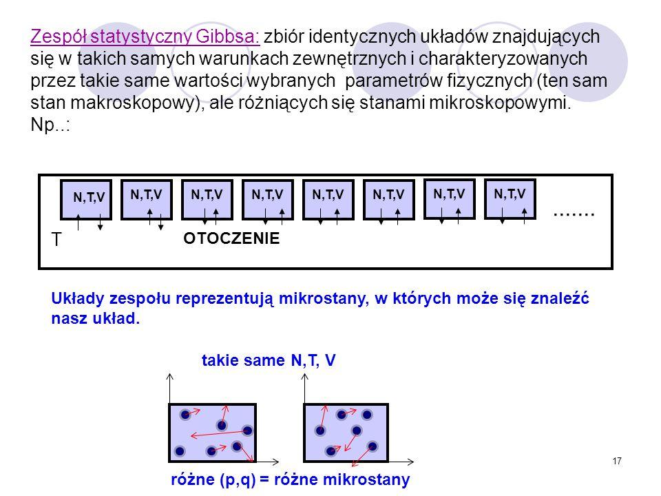 Zespół statystyczny Gibbsa: zbiór identycznych układów znajdujących się w takich samych warunkach zewnętrznych i charakteryzowanych przez takie same wartości wybranych parametrów fizycznych (ten sam stan makroskopowy), ale różniących się stanami mikroskopowymi. Np..:
