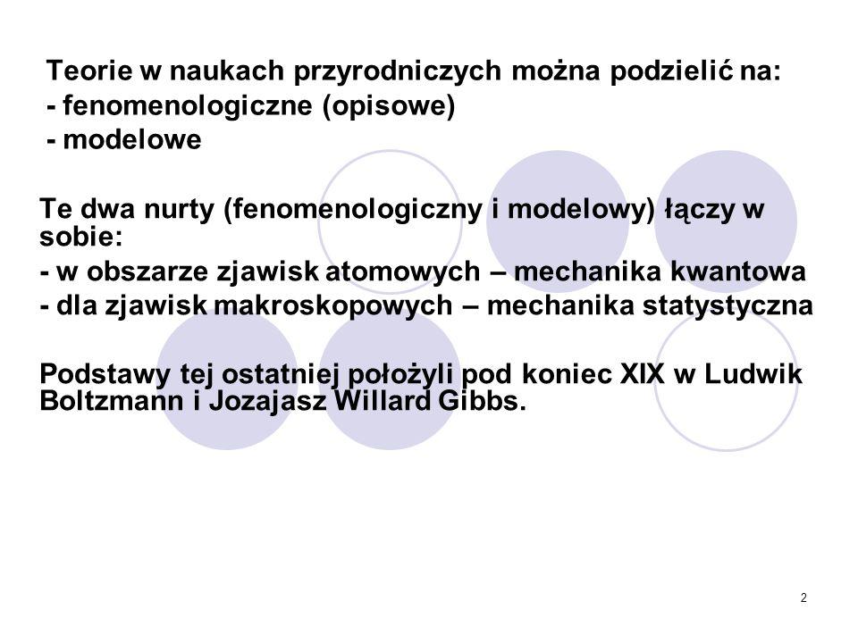 Teorie w naukach przyrodniczych można podzielić na: - fenomenologiczne (opisowe) - modelowe