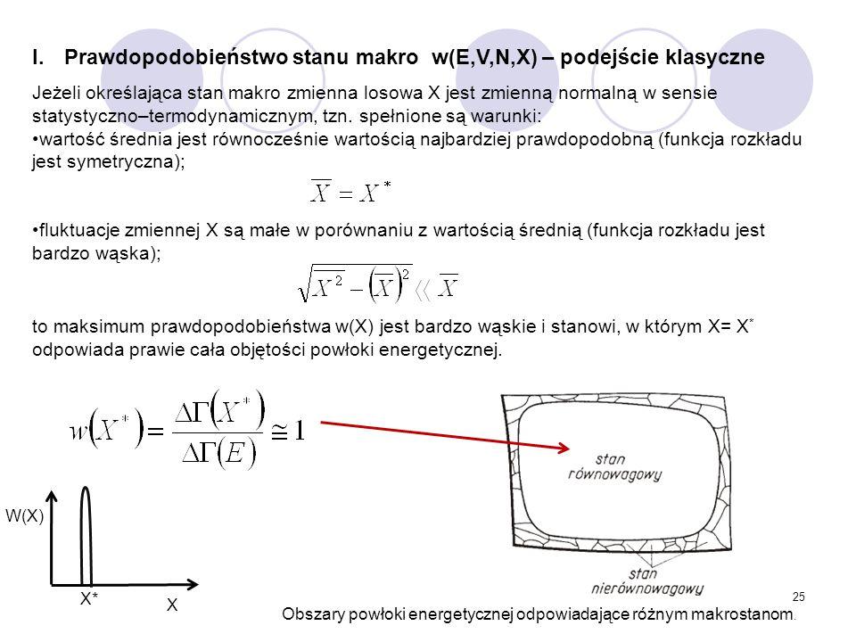 Prawdopodobieństwo stanu makro w(E,V,N,X) – podejście klasyczne