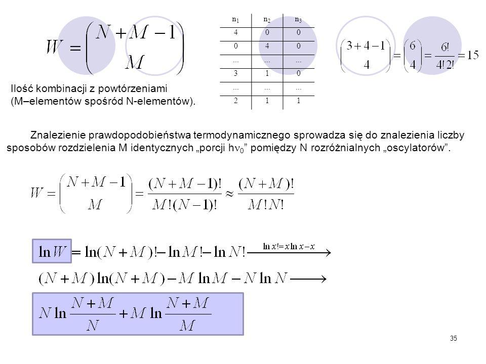 Ilość kombinacji z powtórzeniami (M–elementów spośród N-elementów).