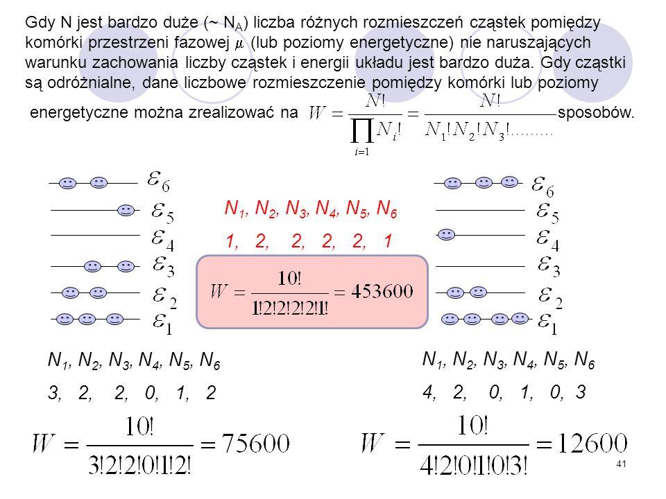 Gdy N jest bardzo duże (~ NA) liczba różnych rozmieszczeń cząstek pomiędzy komórki przestrzeni fazowej  (lub poziomy energetyczne) nie naruszających warunku zachowania liczby cząstek i energii układu jest bardzo duża. Gdy cząstki są odróżnialne, dane liczbowe rozmieszczenie pomiędzy komórki lub poziomy
