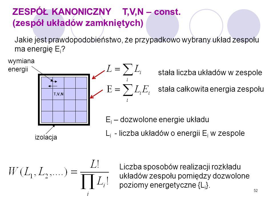 ZESPÓŁ KANONICZNY T,V,N – const. (zespół układów zamkniętych)