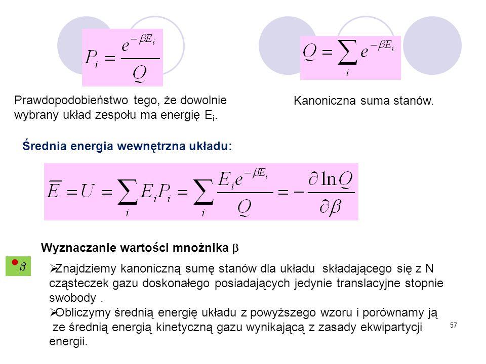 Prawdopodobieństwo tego, że dowolnie wybrany układ zespołu ma energię Ei.