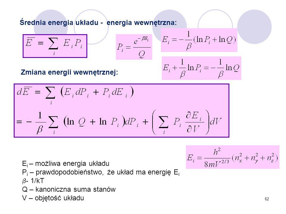 Średnia energia układu - energia wewnętrzna: