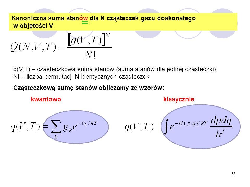 Kanoniczna suma stanów dla N cząsteczek gazu doskonałego w objętości V: