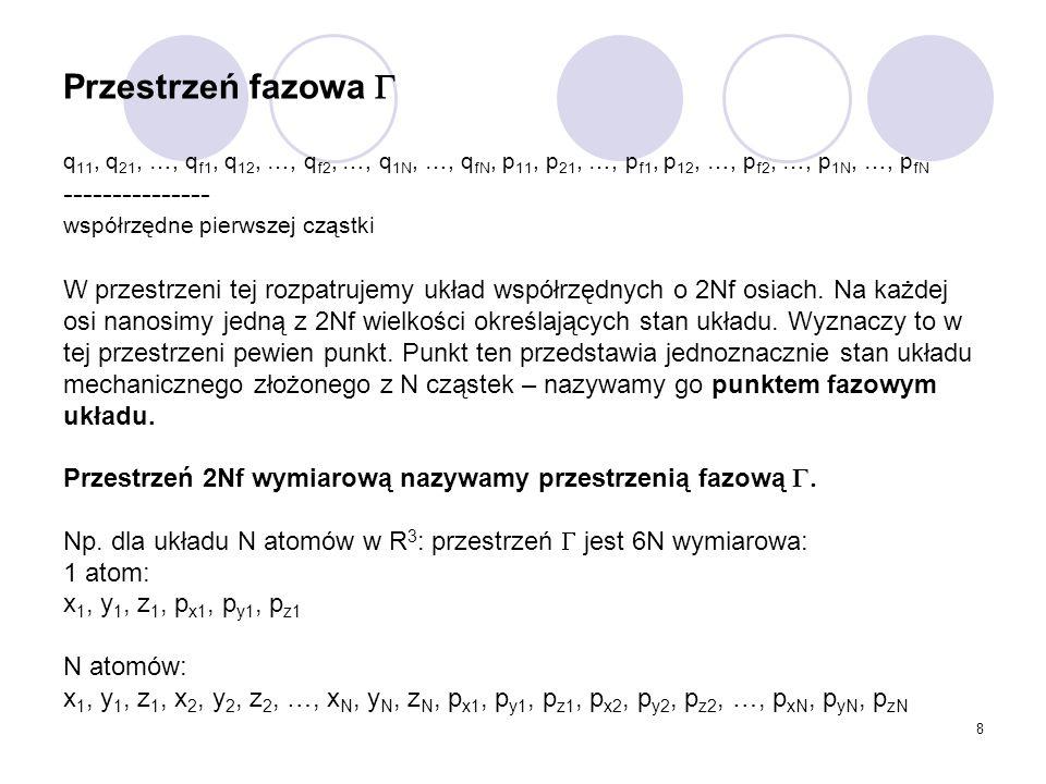Przestrzeń fazowa  q11, q21, …, qf1, q12, …, qf2, …, q1N, …, qfN, p11, p21, …, pf1, p12, …, pf2, …, p1N, …, pfN --------------- współrzędne pierwszej cząstki W przestrzeni tej rozpatrujemy układ współrzędnych o 2Nf osiach.