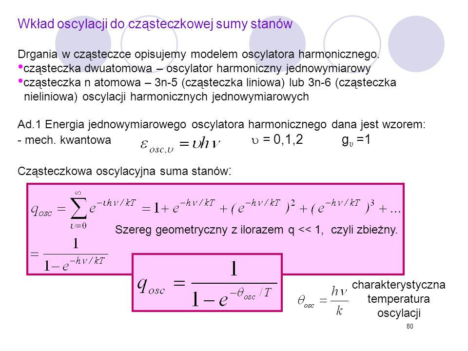 Wkład oscylacji do cząsteczkowej sumy stanów
