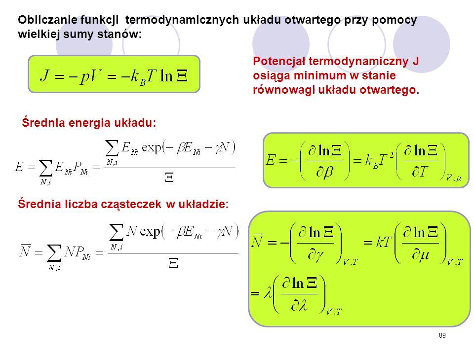 Obliczanie funkcji termodynamicznych układu otwartego przy pomocy wielkiej sumy stanów: