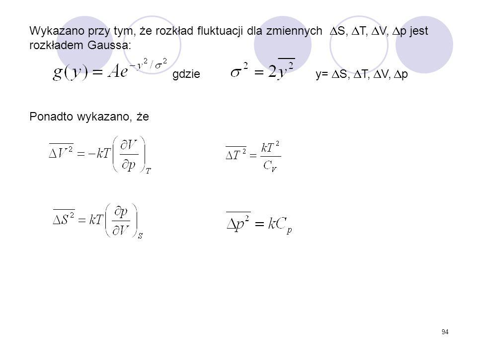Wykazano przy tym, że rozkład fluktuacji dla zmiennych S, T, V, p jest rozkładem Gaussa: