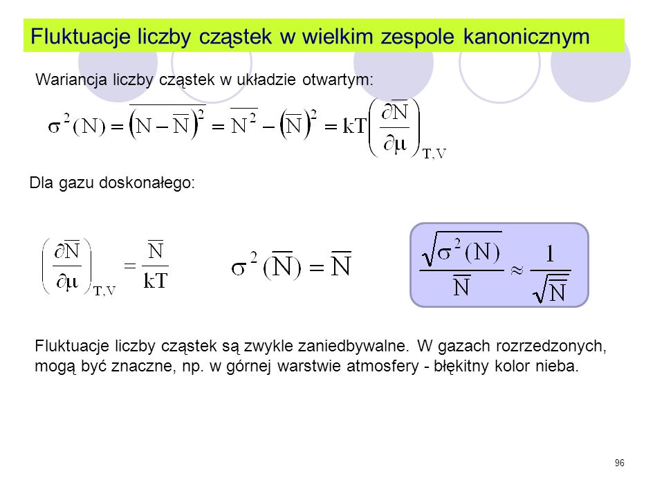Fluktuacje liczby cząstek w wielkim zespole kanonicznym