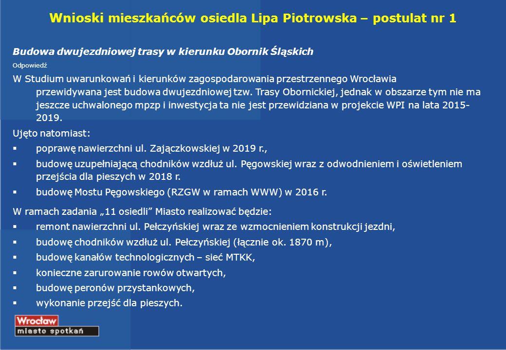 Wnioski mieszkańców osiedla Lipa Piotrowska – postulat nr 1