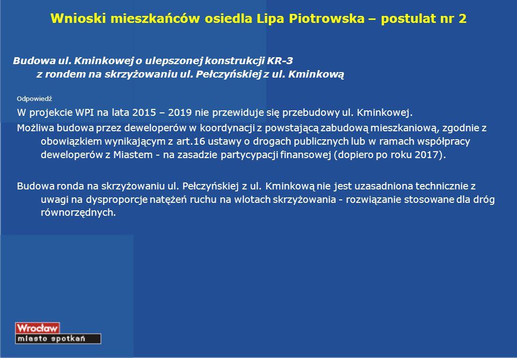 Wnioski mieszkańców osiedla Lipa Piotrowska – postulat nr 2