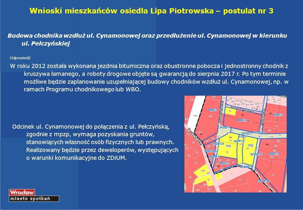 Wnioski mieszkańców osiedla Lipa Piotrowska – postulat nr 3