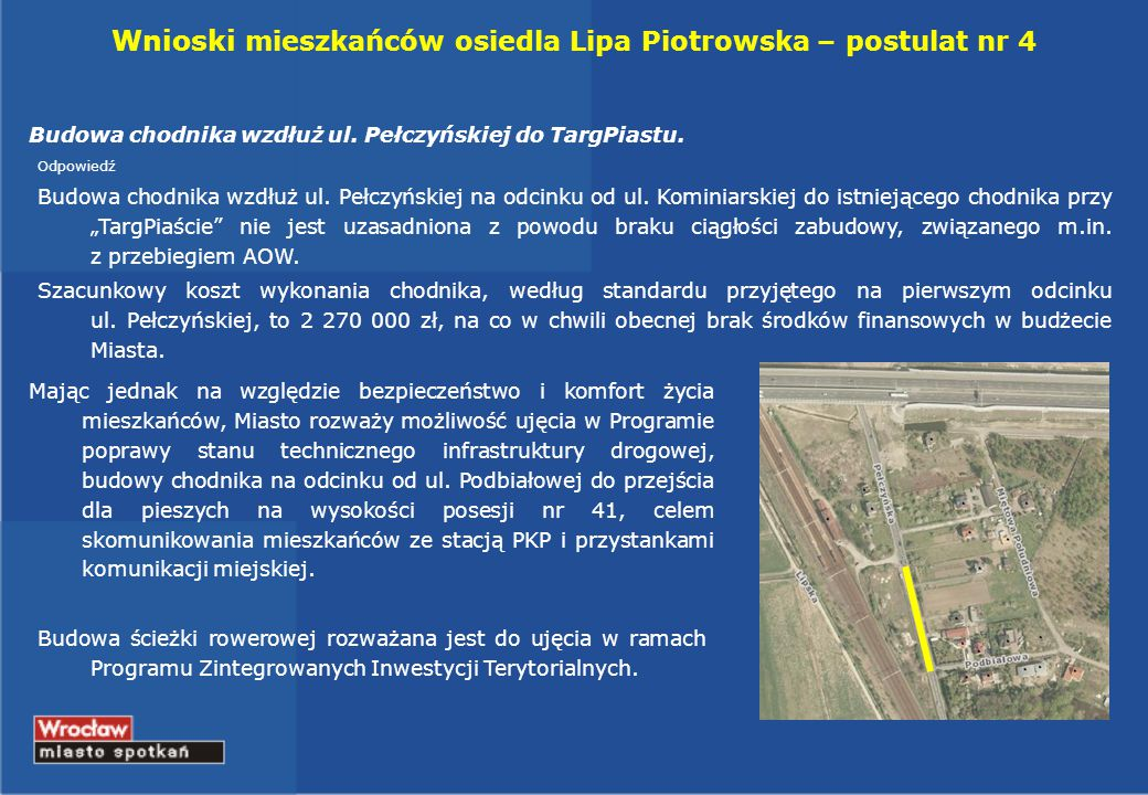 Wnioski mieszkańców osiedla Lipa Piotrowska – postulat nr 4