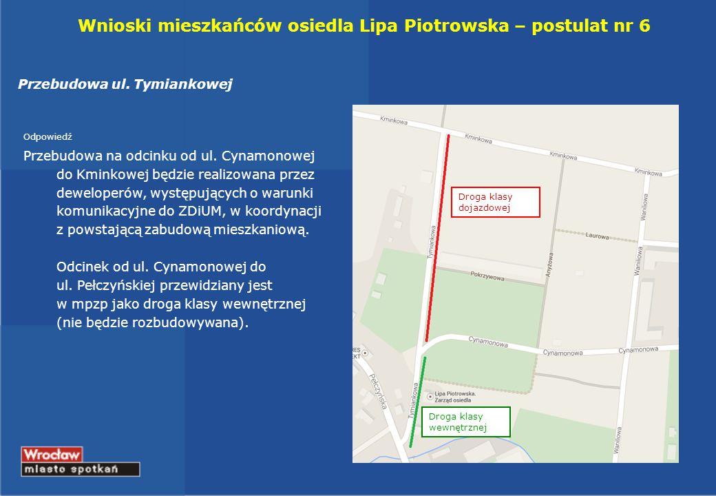 Wnioski mieszkańców osiedla Lipa Piotrowska – postulat nr 6