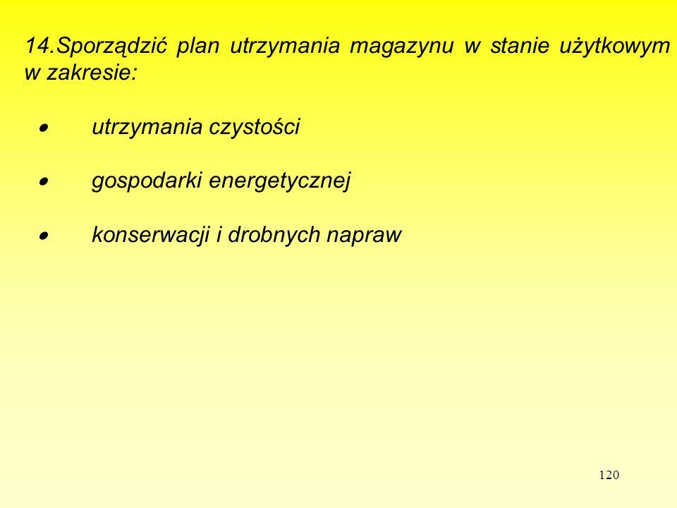 114.Sporządzić plan utrzymania magazynu w stanie użytkowym w zakresie: