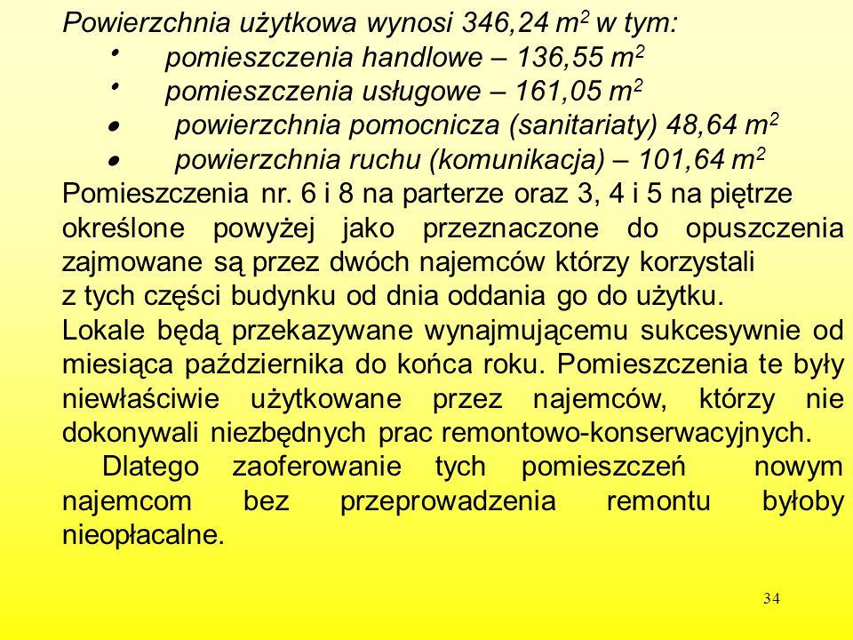 Powierzchnia użytkowa wynosi 346,24 m2 w tym: