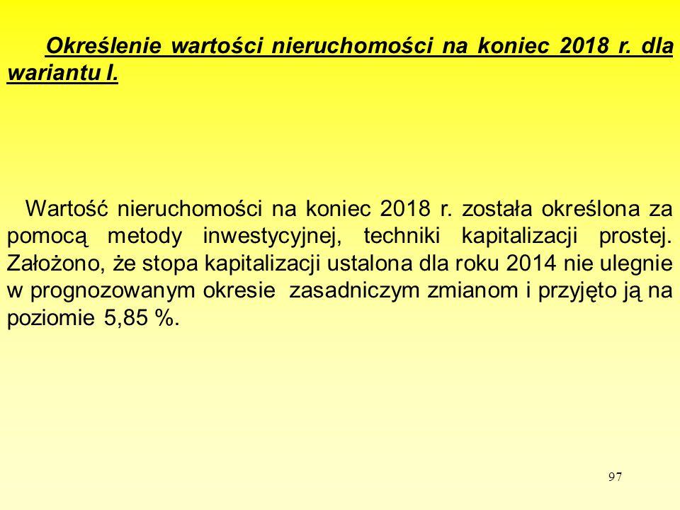 Określenie wartości nieruchomości na koniec 2018 r. dla wariantu I.