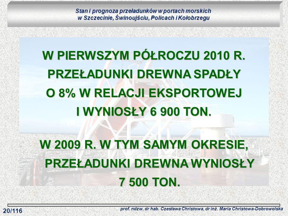 W 2009 R. W TYM SAMYM OKRESIE, PRZEŁADUNKI DREWNA WYNIOSŁY 7 500 TON.