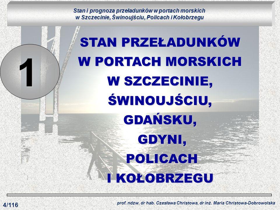 Stan i prognoza przeładunków w portach morskich w Szczecinie, Świnoujściu, Policach i Kołobrzegu
