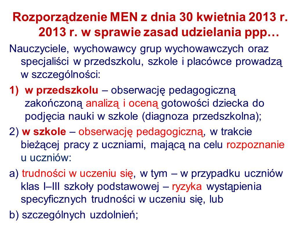 Rozporządzenie MEN z dnia 30 kwietnia 2013 r. 2013 r