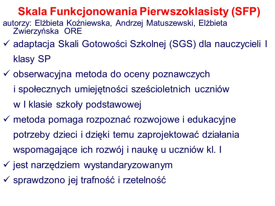 Skala Funkcjonowania Pierwszoklasisty (SFP)