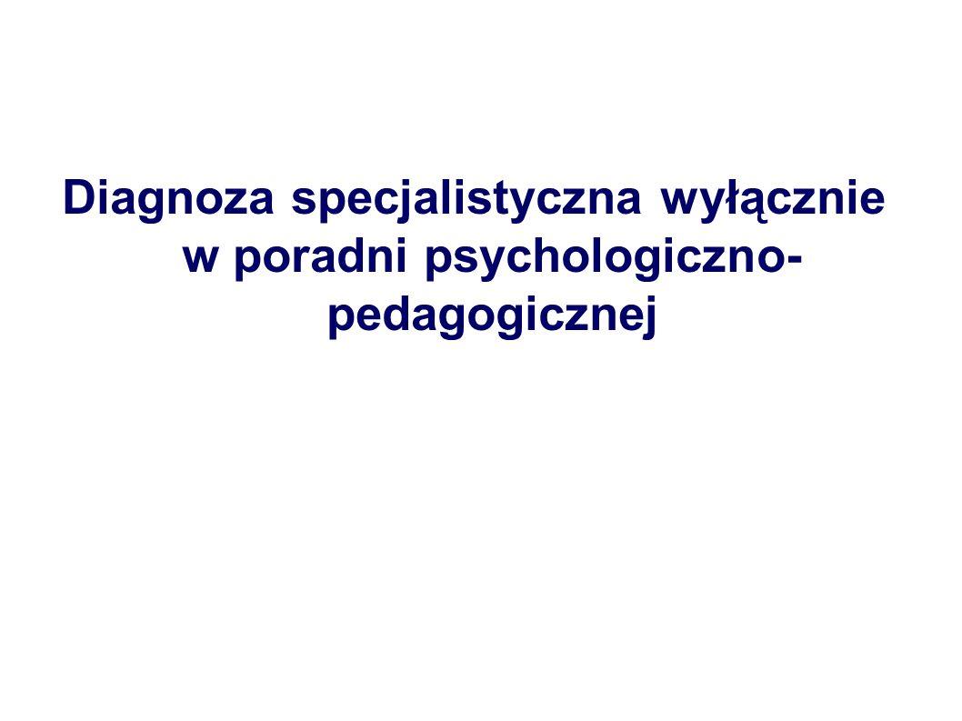Diagnoza specjalistyczna wyłącznie w poradni psychologiczno-pedagogicznej