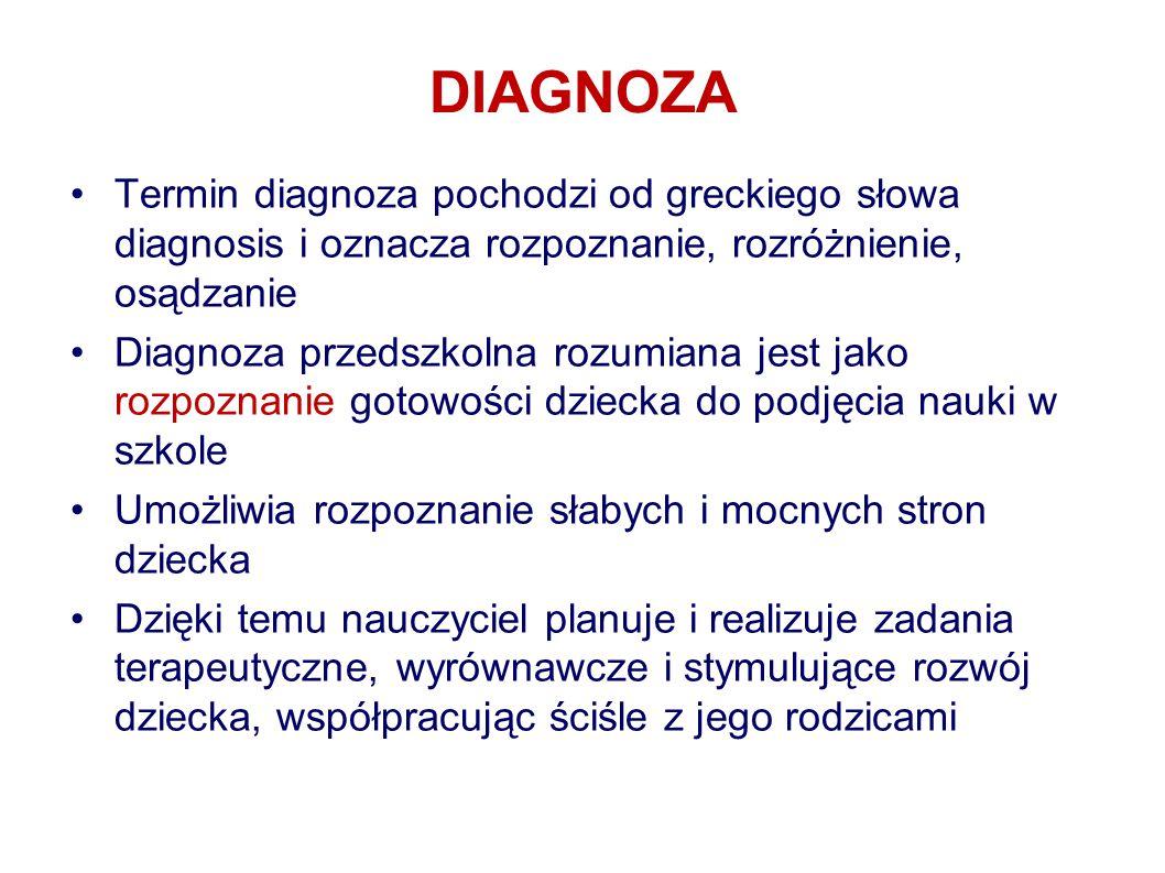 DIAGNOZA Termin diagnoza pochodzi od greckiego słowa diagnosis i oznacza rozpoznanie, rozróżnienie, osądzanie.
