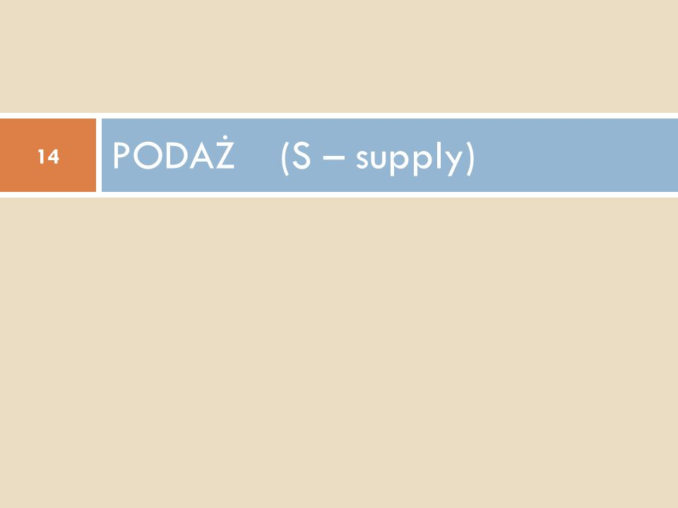 PODAŻ (S – supply)