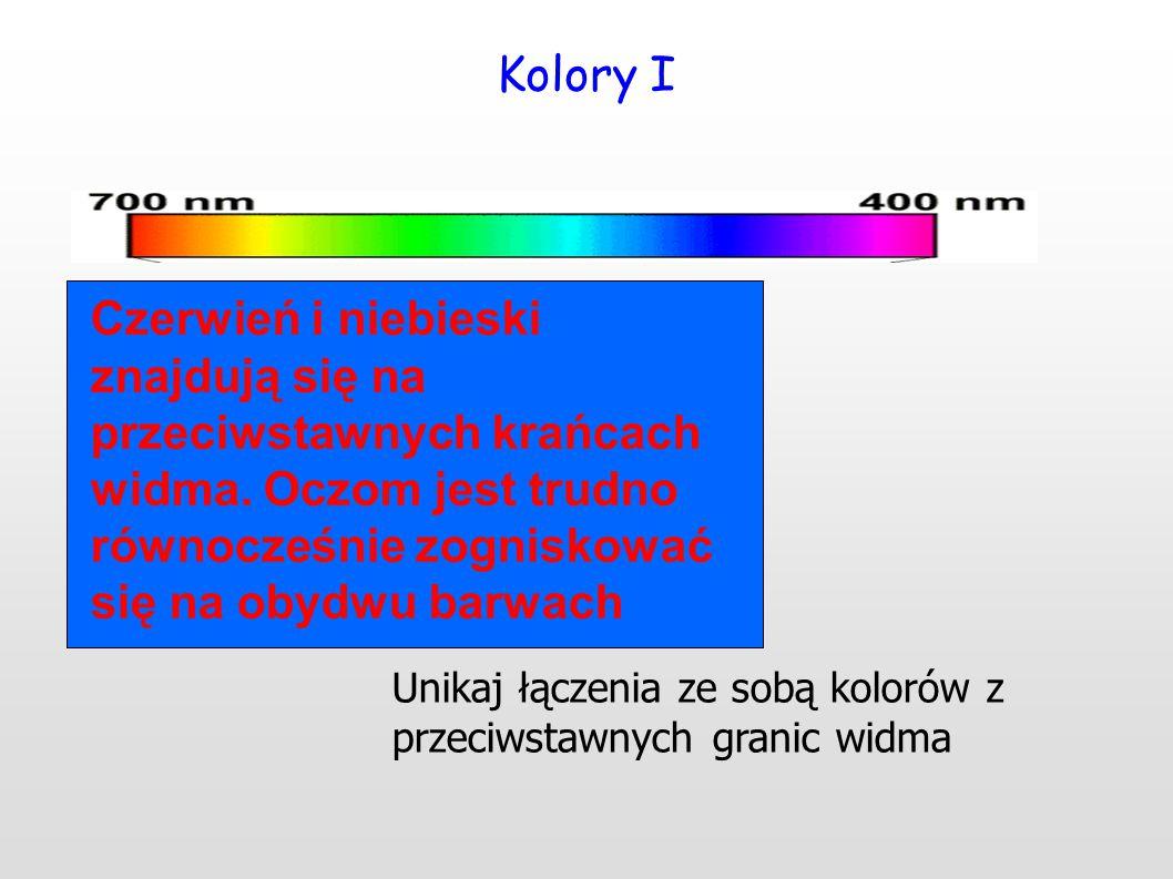 Kolory I Czerwień i niebieski znajdują się na przeciwstawnych krańcach widma. Oczom jest trudno równocześnie zogniskować się na obydwu barwach.