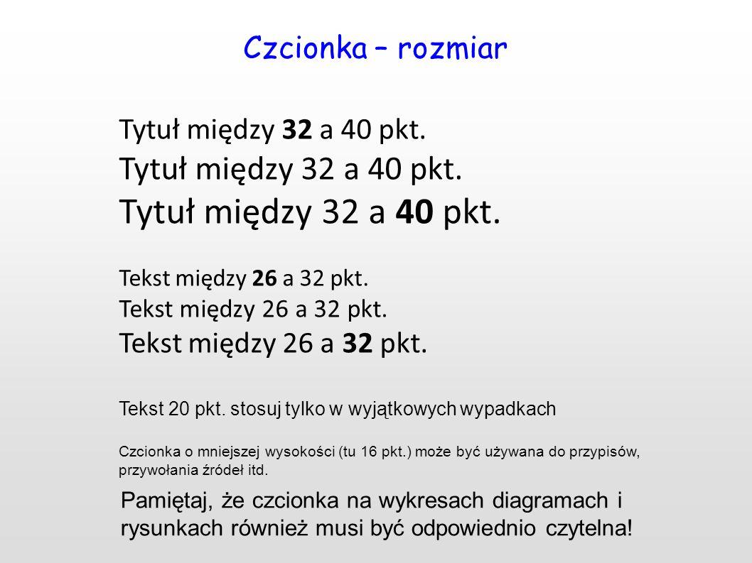 Czcionka – rozmiar Tytuł między 32 a 40 pkt. Tekst między 26 a 32 pkt.