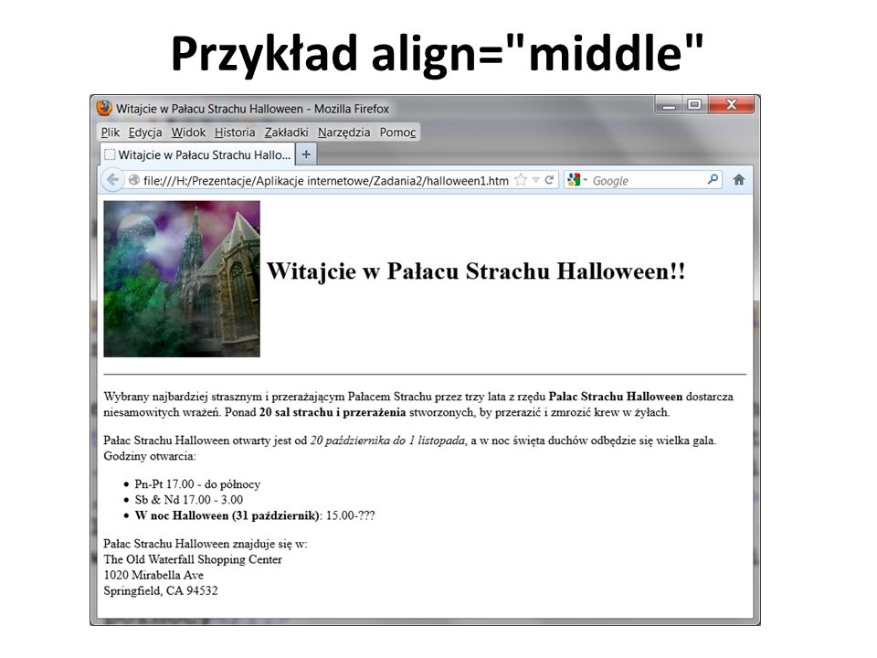 Przykład align= middle
