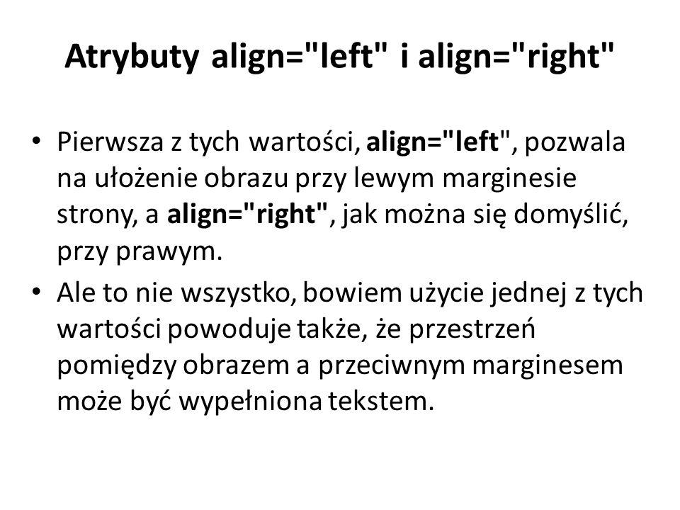 Atrybuty align= left i align= right