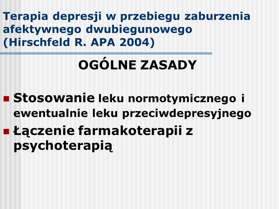 Stosowanie leku normotymicznego i ewentualnie leku przeciwdepresyjnego