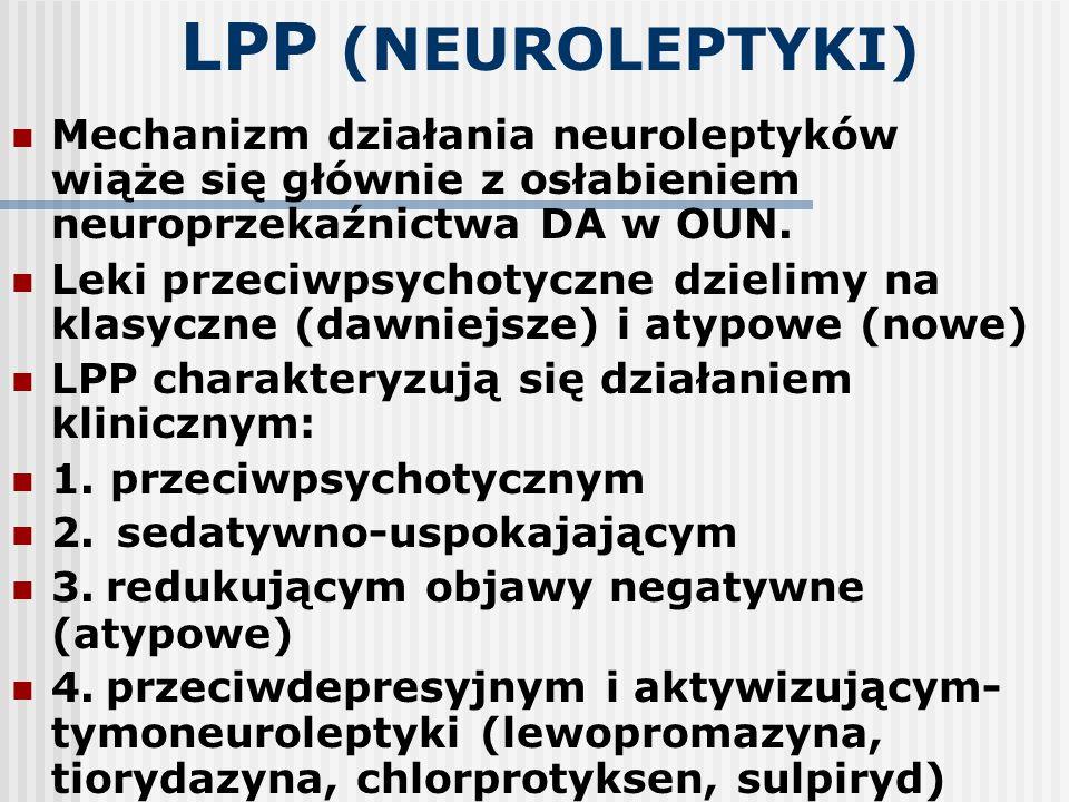 LPP (NEUROLEPTYKI) Mechanizm działania neuroleptyków wiąże się głównie z osłabieniem neuroprzekaźnictwa DA w OUN.