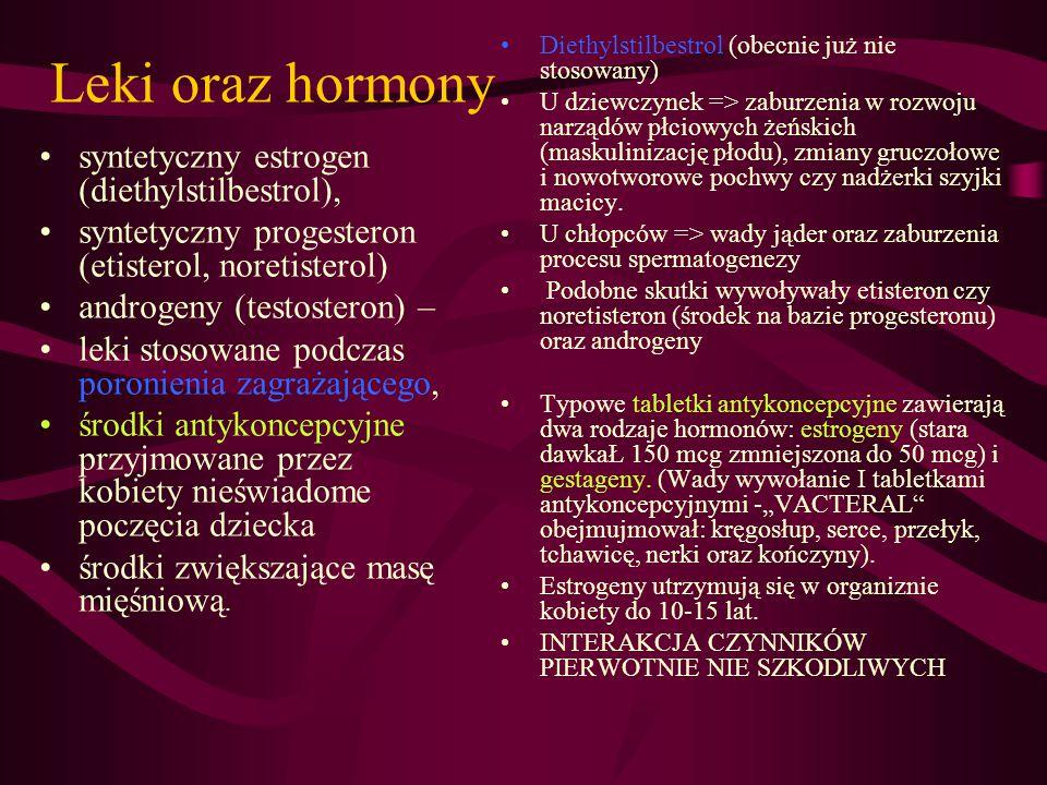 Leki oraz hormony syntetyczny estrogen (diethylstilbestrol),