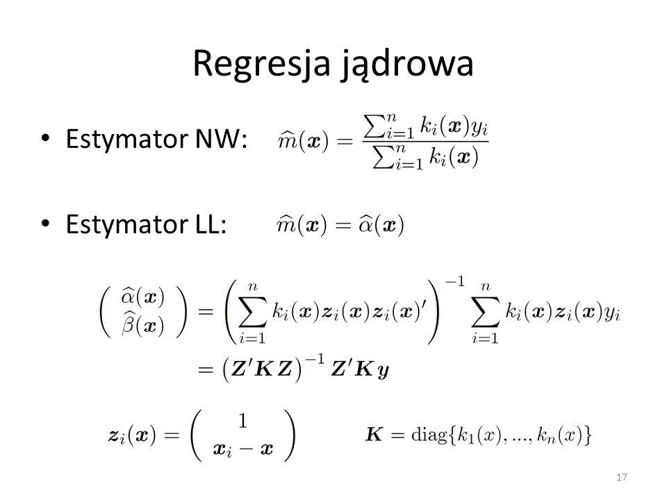 Regresja jądrowa Estymator NW: Estymator LL: