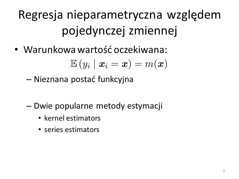 Regresja nieparametryczna względem pojedynczej zmiennej