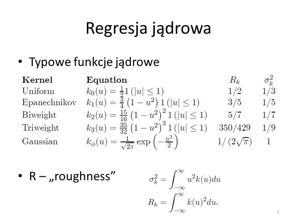 """Regresja jądrowa Typowe funkcje jądrowe R – """"roughness"""