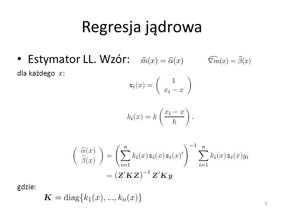 Regresja jądrowa Estymator LL. Wzór: dla każdego 𝑥: gdzie:
