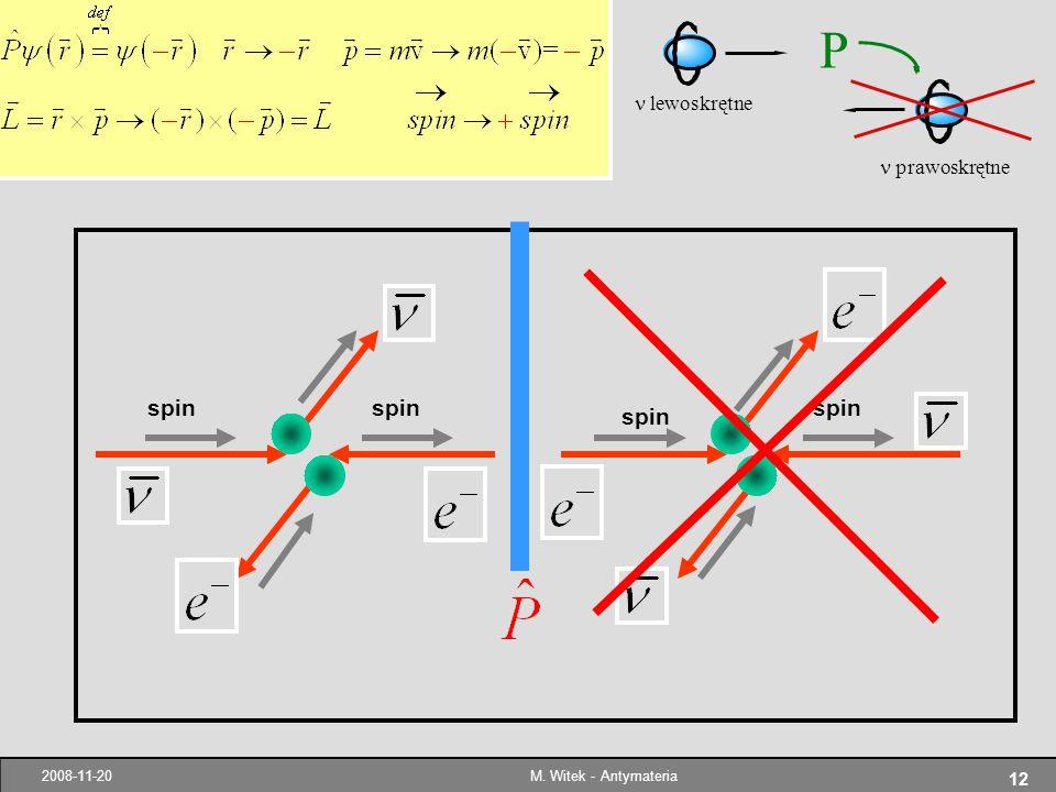 n prawoskrętne P n lewoskrętne spin spin spin spin